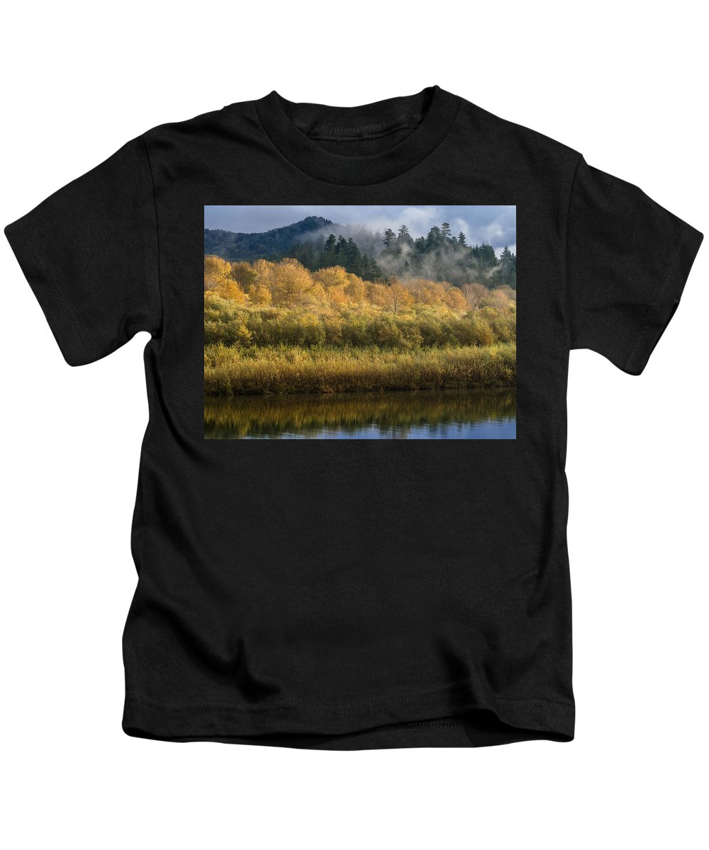 Fog Kids T-Shirt featuring the photograph Autumn On The Klamath 4 by Greg Nyquist