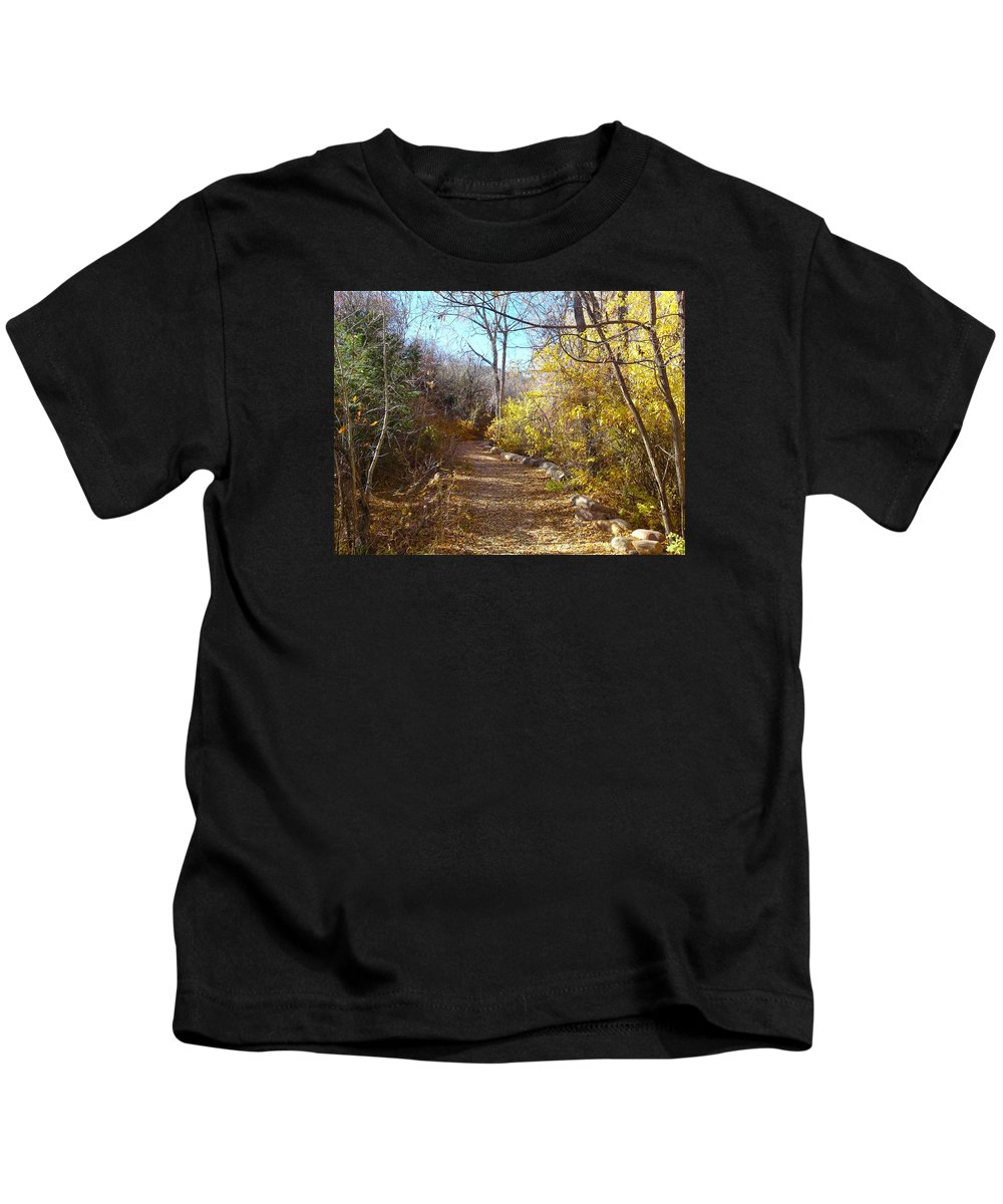 Gary Kids T-Shirt featuring the photograph Autumn Path by Gary Simmons