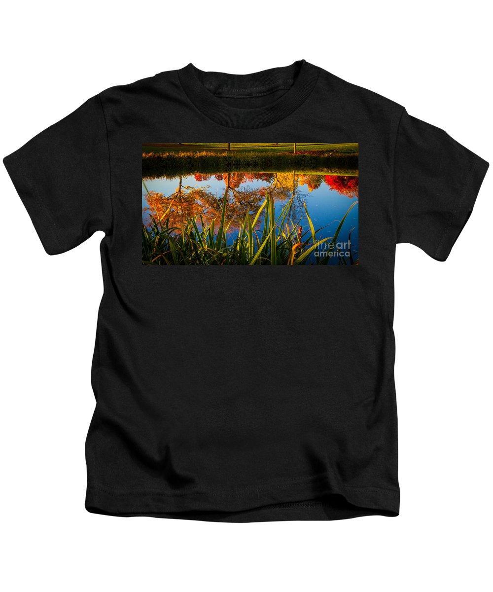Autumn Kids T-Shirt featuring the photograph Autumn Reflection by Matt Hoffmann