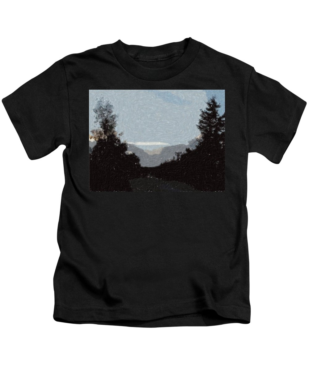 Autumn Kids T-Shirt featuring the painting Autumn Roads by Sergey Bezhinets