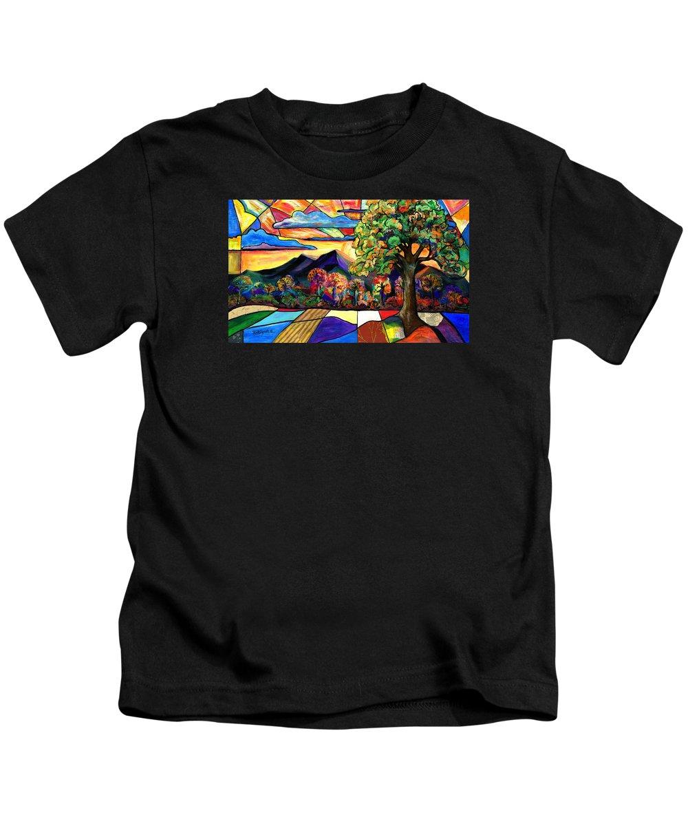 Everett Spruill Kids T-Shirt featuring the painting Autumn Sunrise by Everett Spruill