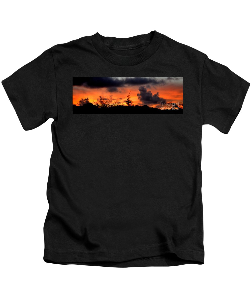 Sunrise Kids T-Shirt featuring the photograph Autumn Sunrise From The Back Deck by Mary Deal