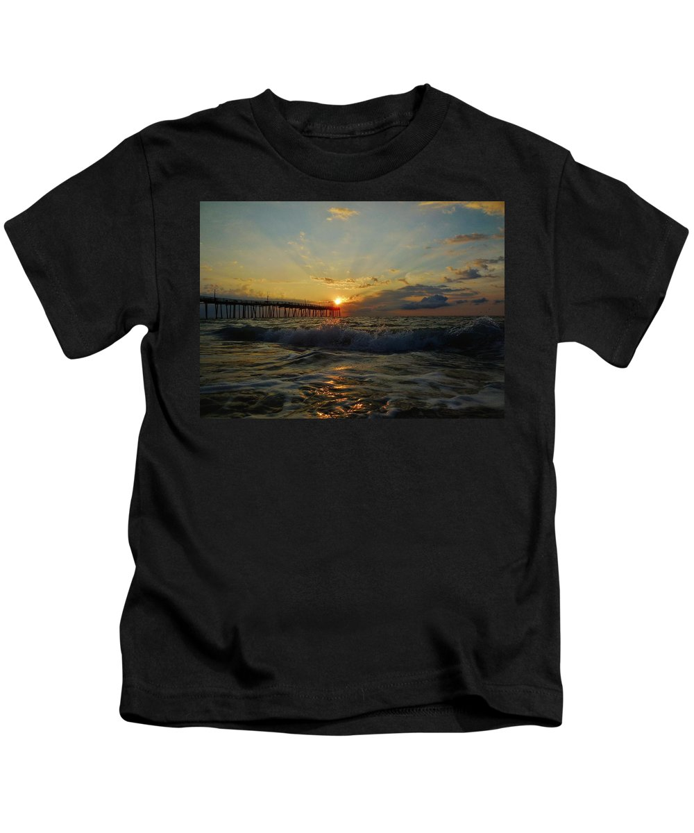 Mark Lemmon Cape Hatteras Nc The Outer Banks Photographer Subjects From Sunrise Kids T-Shirt featuring the photograph Avon Pier Sunrise Morning Sunbeams 7/26 by Mark Lemmon