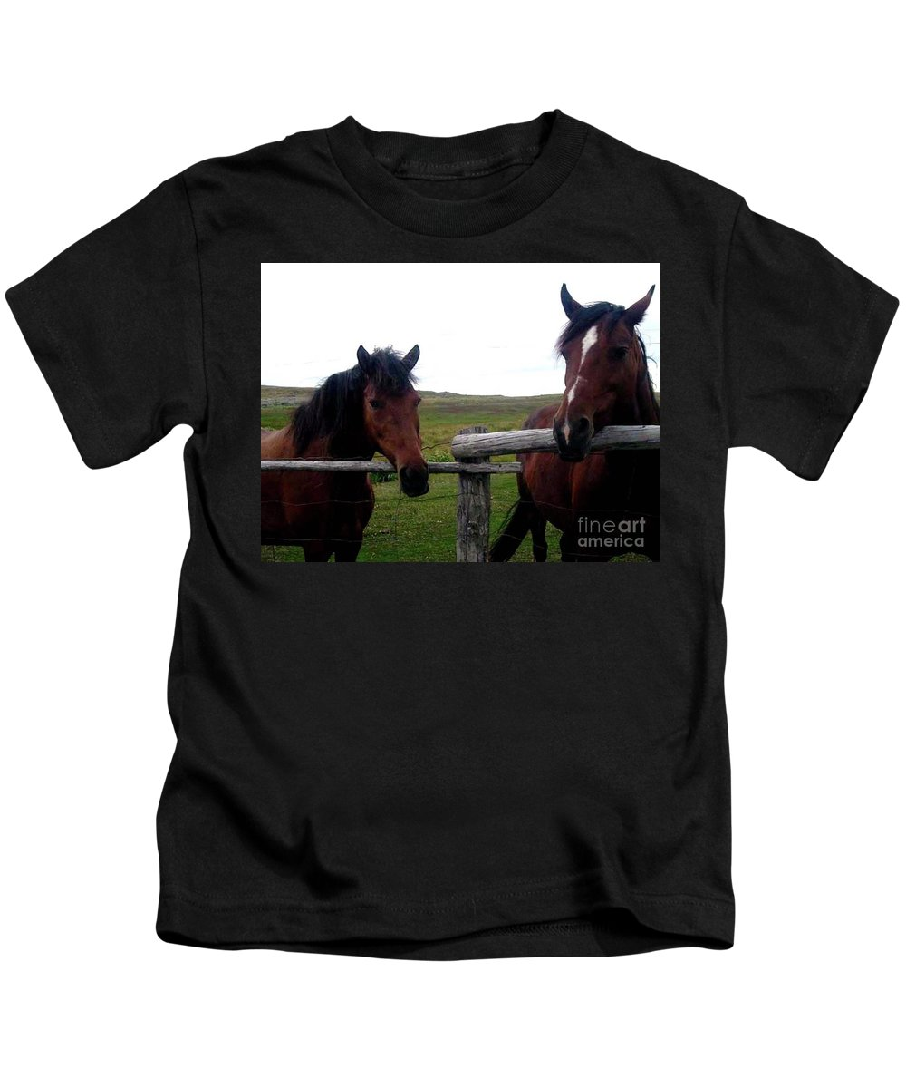 Horse Kids T-Shirt featuring the photograph Awaiting Treats by Barbara Griffin