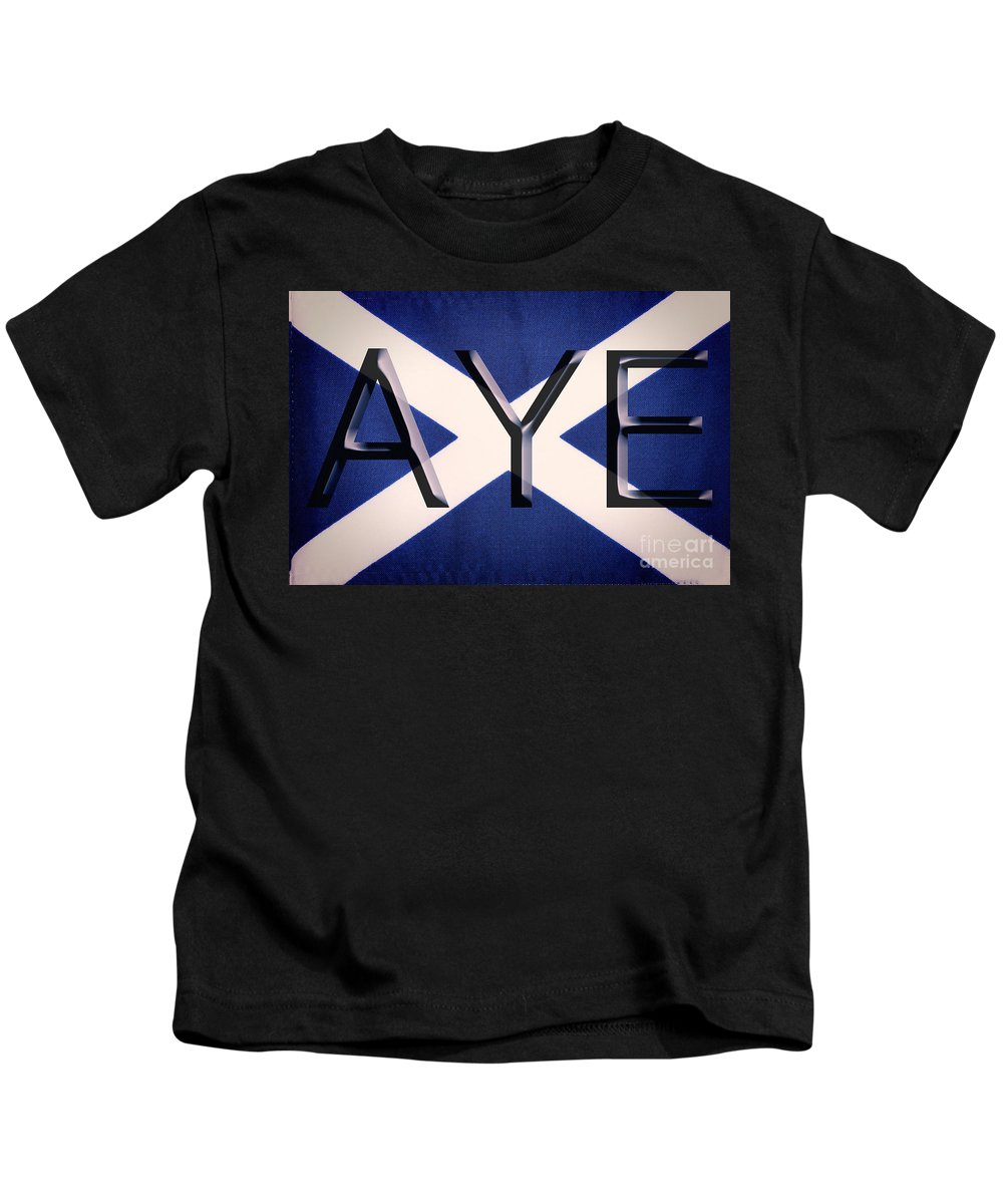 Saltire Kids T-Shirt featuring the photograph Aye by Diane Macdonald