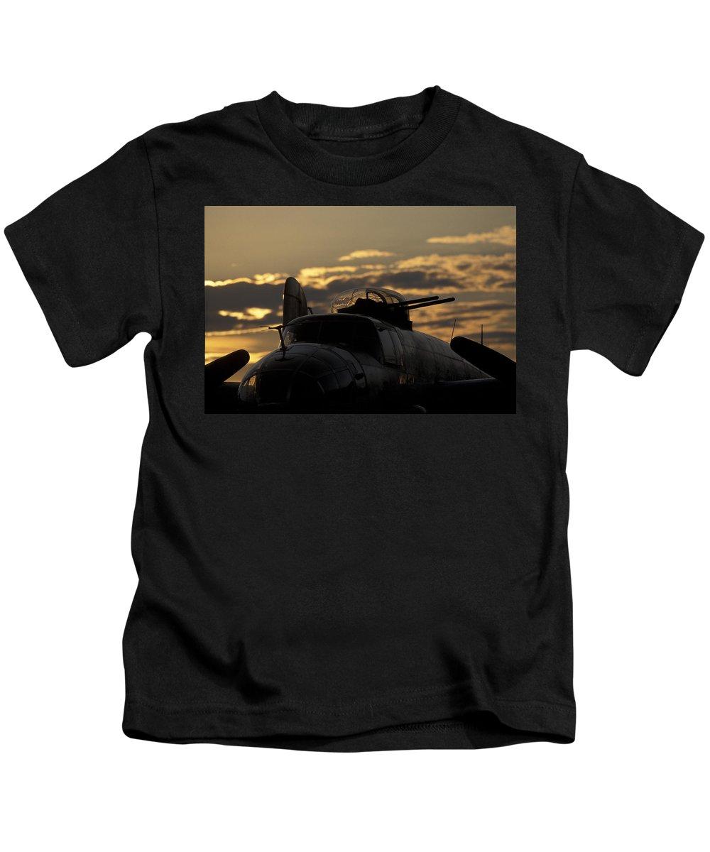 Airplane Kids T-Shirt featuring the photograph B-25 Sunset by John Clark