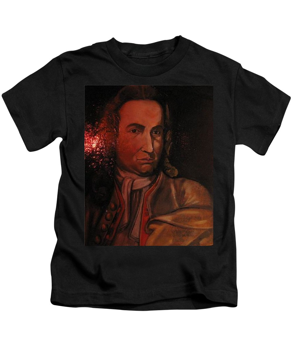 Kids T-Shirt featuring the painting Bach Portrait After Heavy Varnish by Jude Darrien