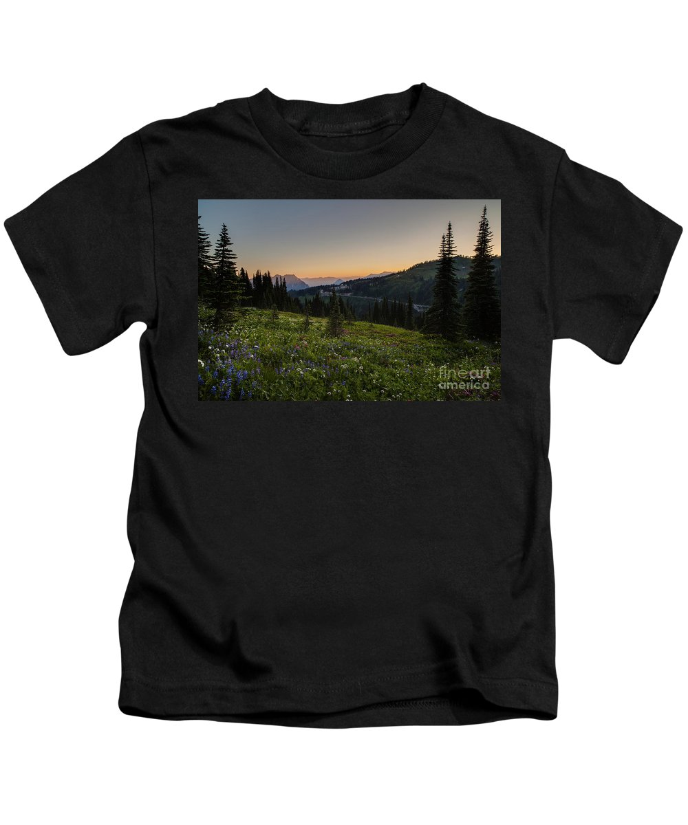 Rainier Kids T-Shirt featuring the photograph Back To Paradise by Mike Reid