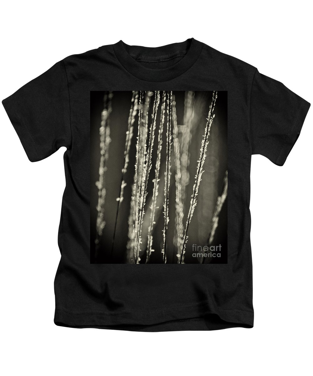 North America Kids T-Shirt featuring the photograph Backlit Sepia Toned Wild Grasses In Black And White by Dave Welling