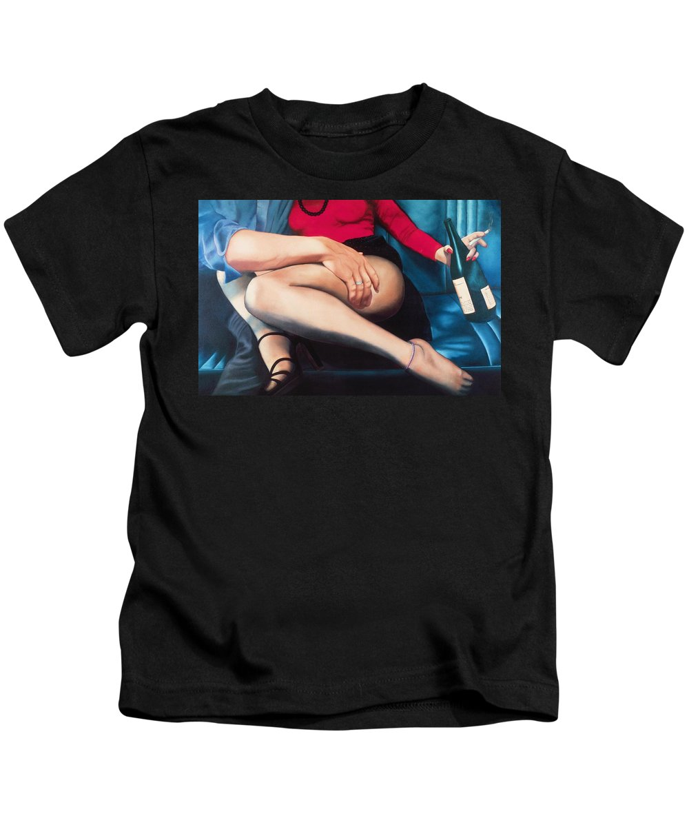 Sensual Kids T-Shirt featuring the painting Backseat Number by Mary Ann Leitch