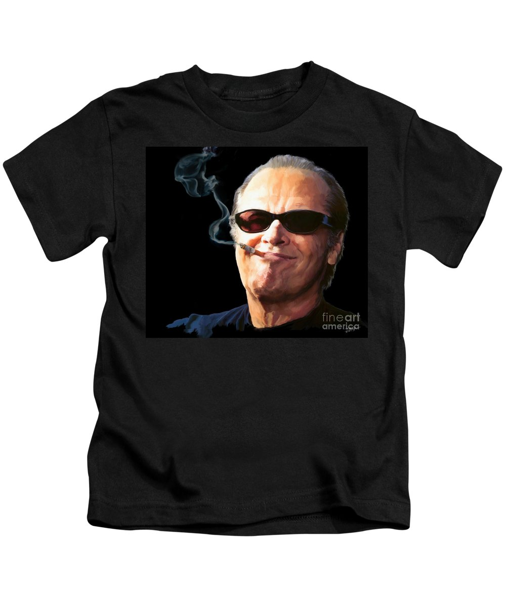 Jack Nicholson Kids T-Shirt featuring the painting Bad Boy by Paul Tagliamonte