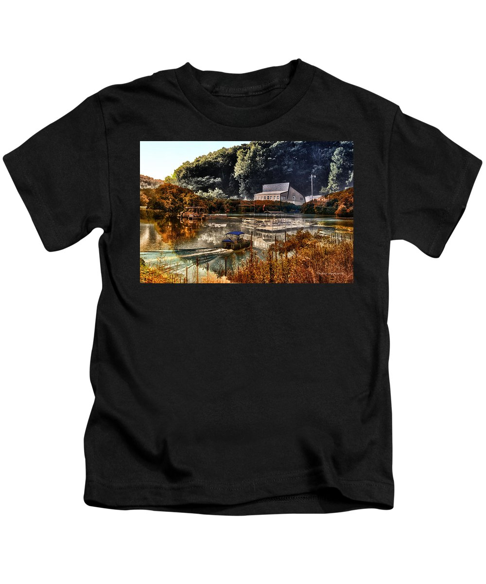 Pontoon Boat Kids T-Shirt featuring the photograph Bait Shop And Restaurant 02 Merged Image by Thomas Woolworth