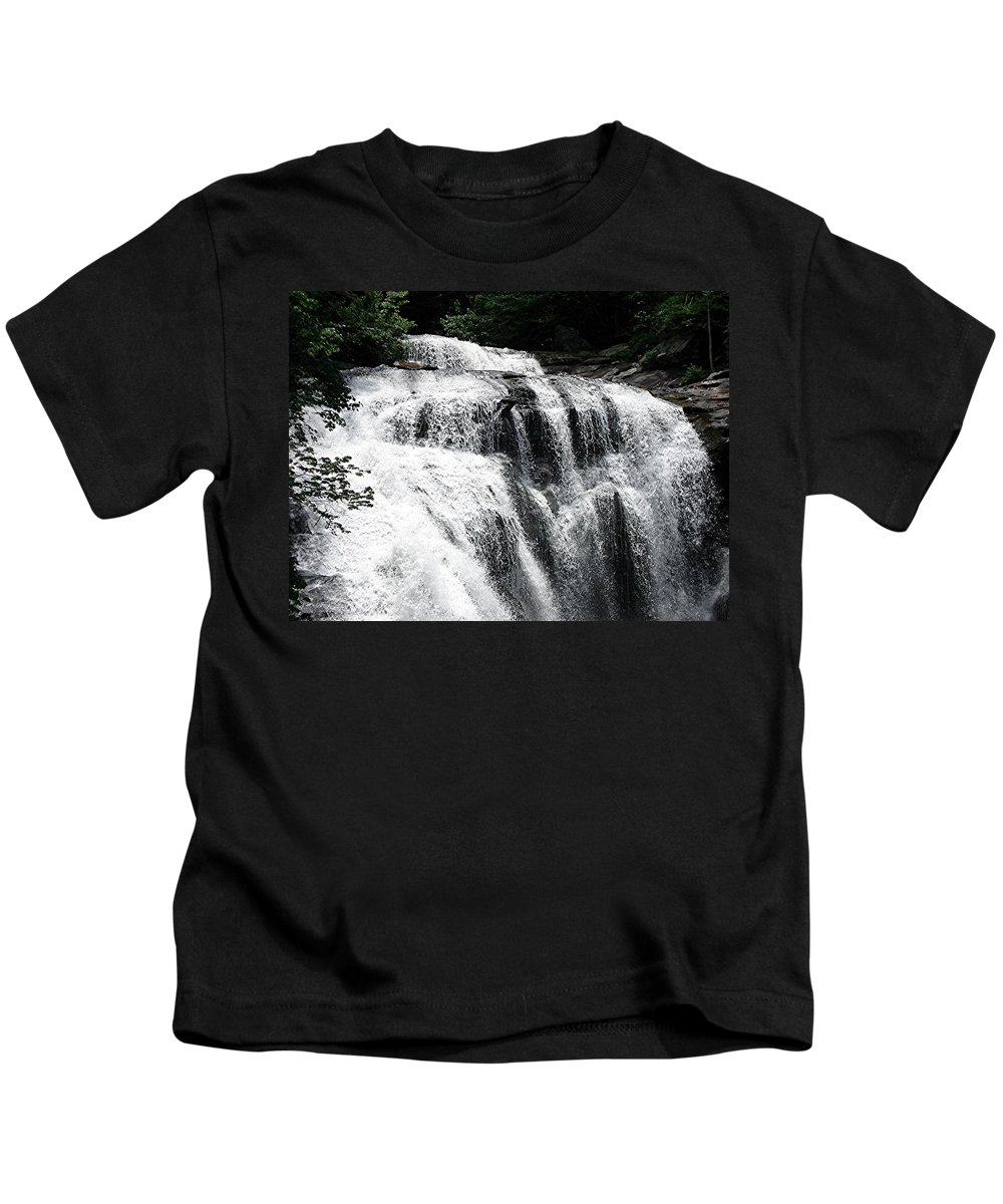 Water Falls Kids T-Shirt featuring the photograph Bald River Falls by Mary Marsh