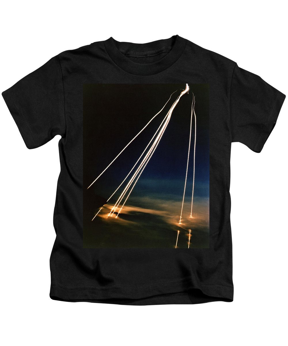 Technology Kids T-Shirt featuring the photograph Ballistic Missile Paths by Science Source