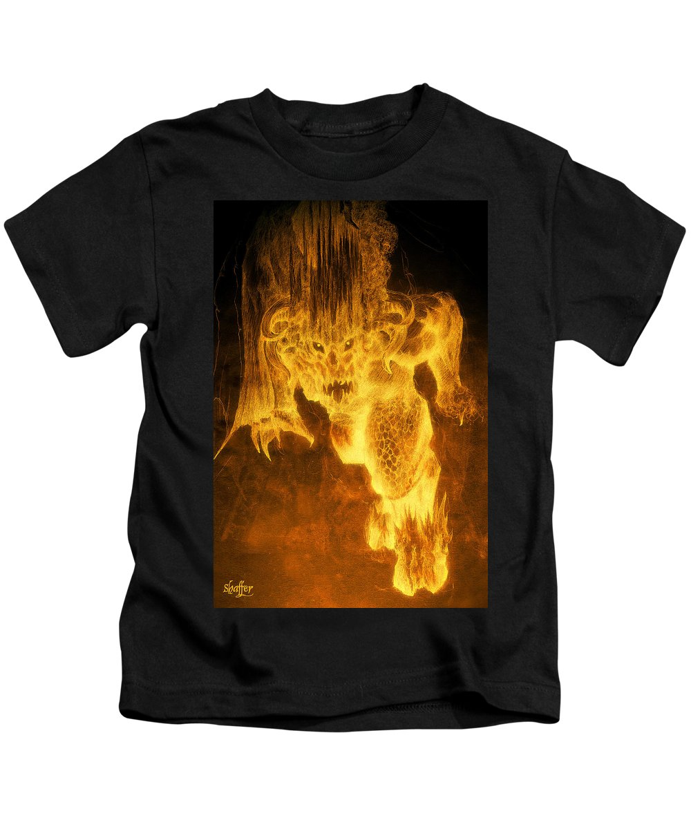 Balrog Kids T-Shirt featuring the mixed media Balrog Of Morgoth by Curtiss Shaffer