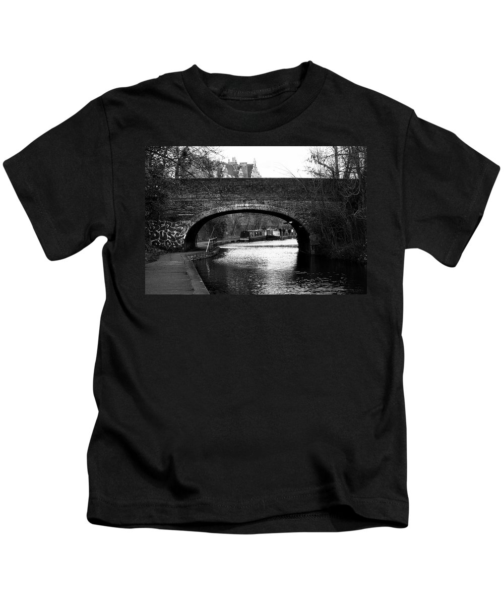 London Kids T-Shirt featuring the photograph Barges And Bridge by David Resnikoff