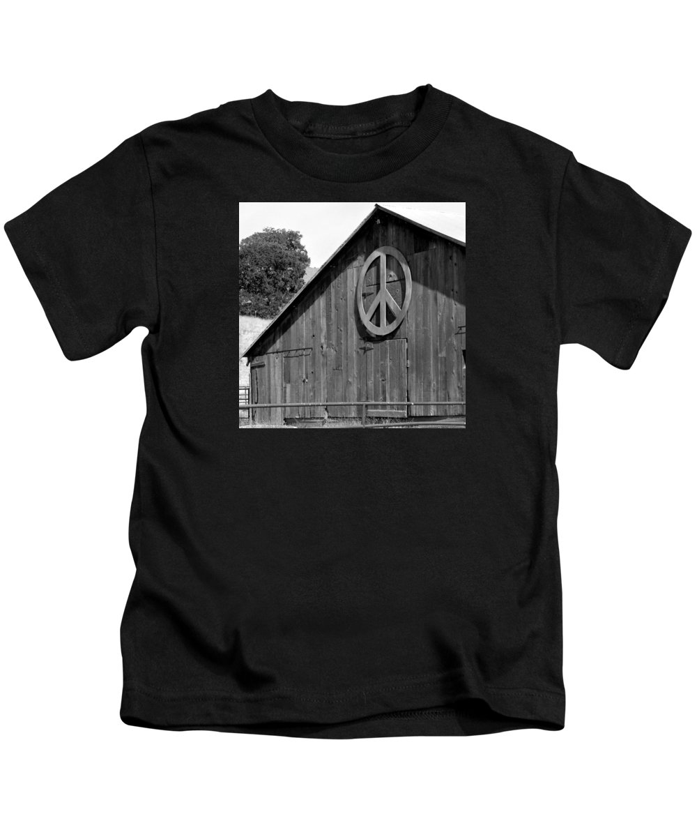 Solvang Kids T-Shirt featuring the photograph Barns For Peace by Art Block Collections
