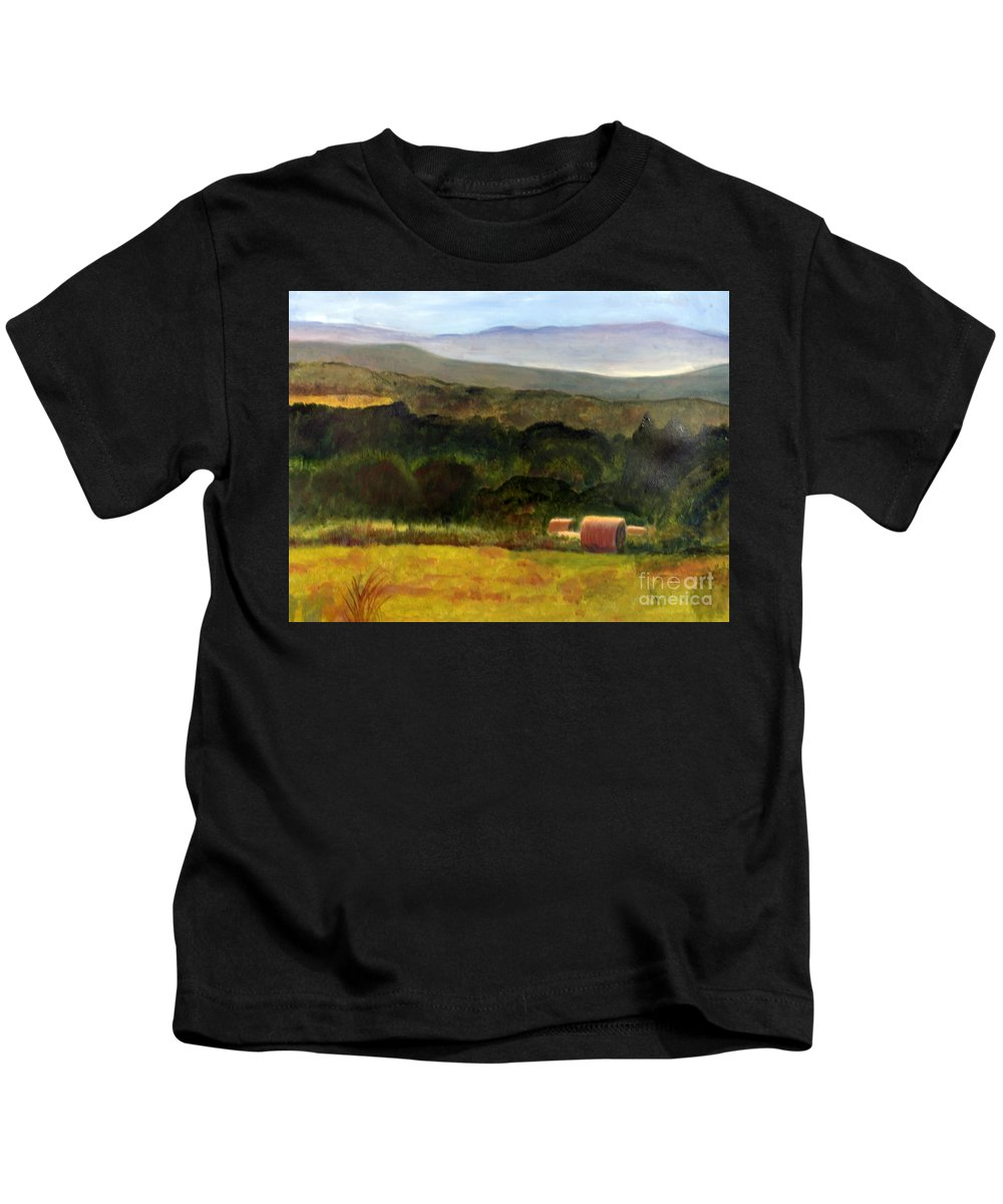 America Kids T-Shirt featuring the painting Barton Haystacks by Donna Walsh