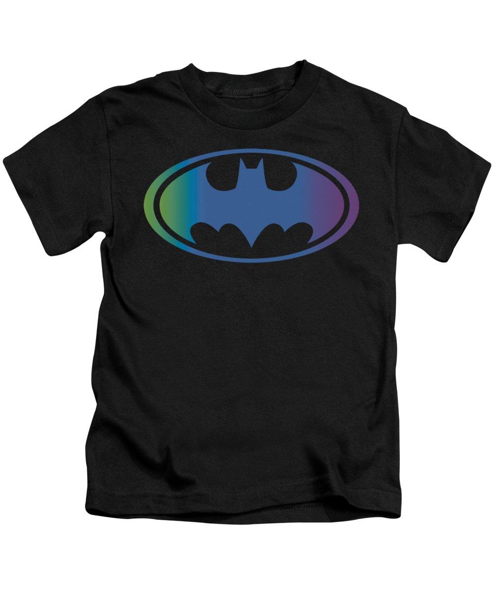 Batman Kids T-Shirt featuring the digital art Batman - Gradient Bat Logo by Brand A