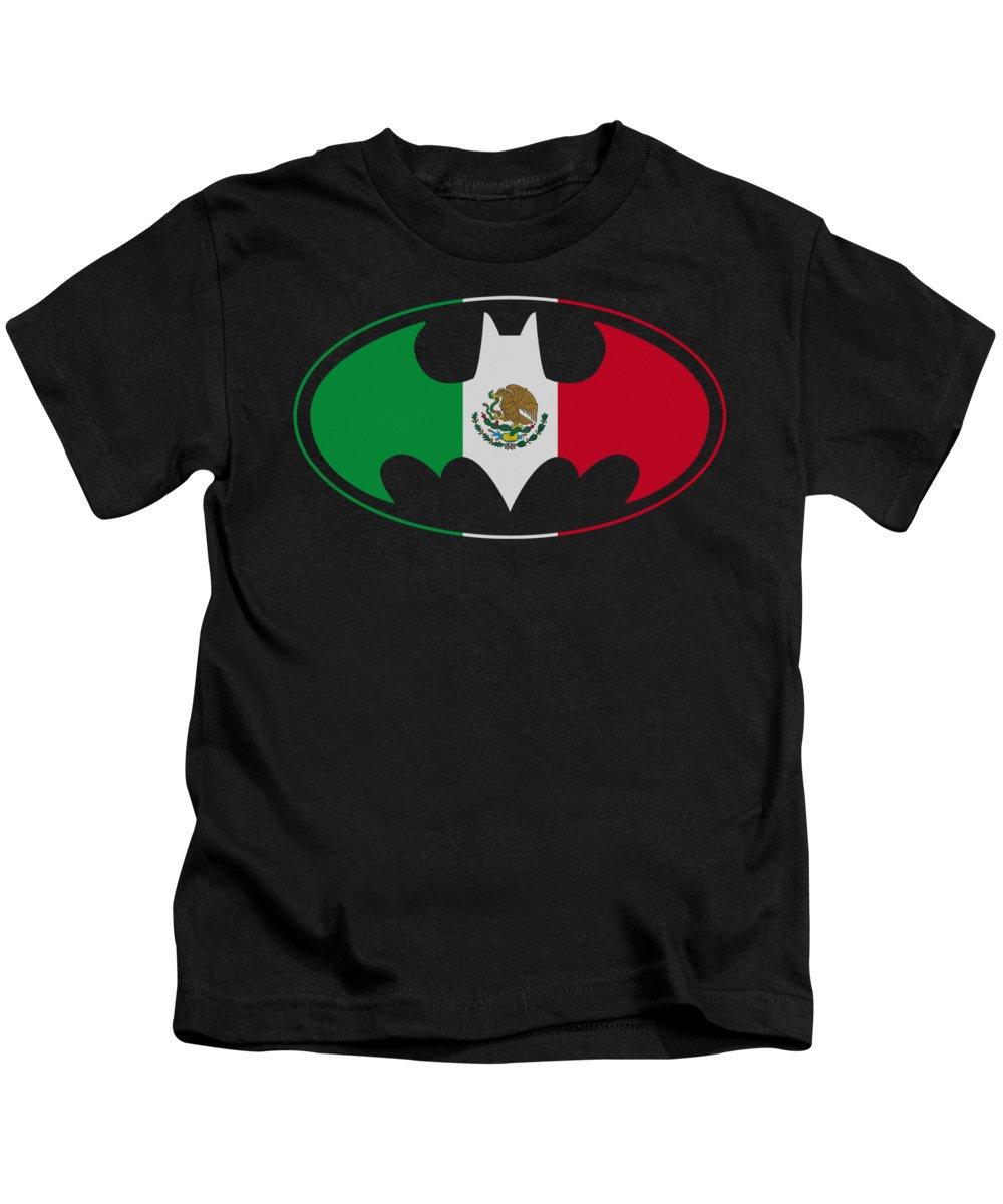 Batman Kids T-Shirt featuring the digital art Batman - Mexican Flag Shield by Brand A