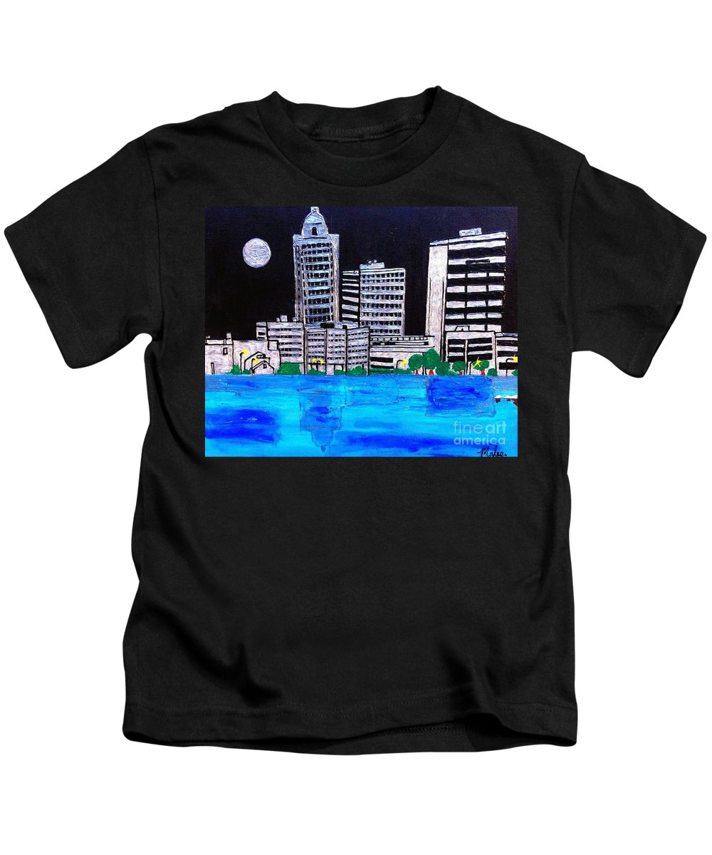 Baton A Rouge La Kids T-Shirt featuring the painting Baton Rouge La by Saundra Myles