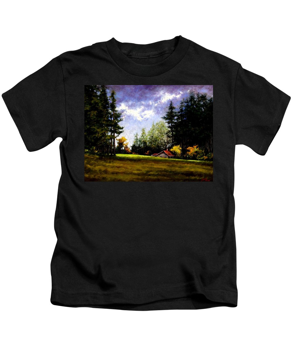 Landscape Kids T-Shirt featuring the painting Battle Ground Park by Jim Gola