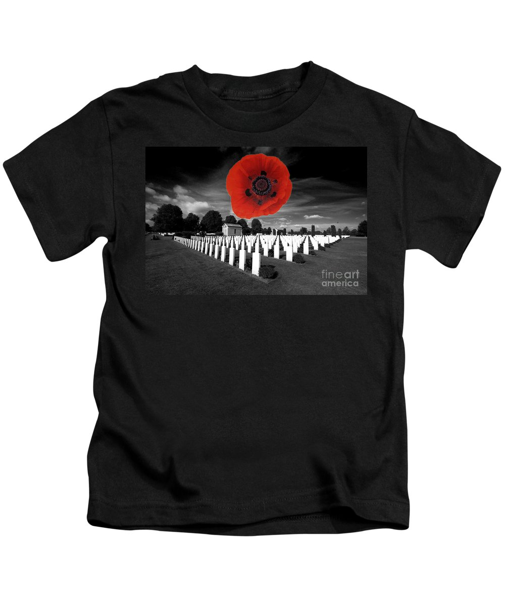 The War Cemetery At Bayeaux In Normandy Kids T-Shirt featuring the photograph Bayeaux Cemetry by Rob Hawkins