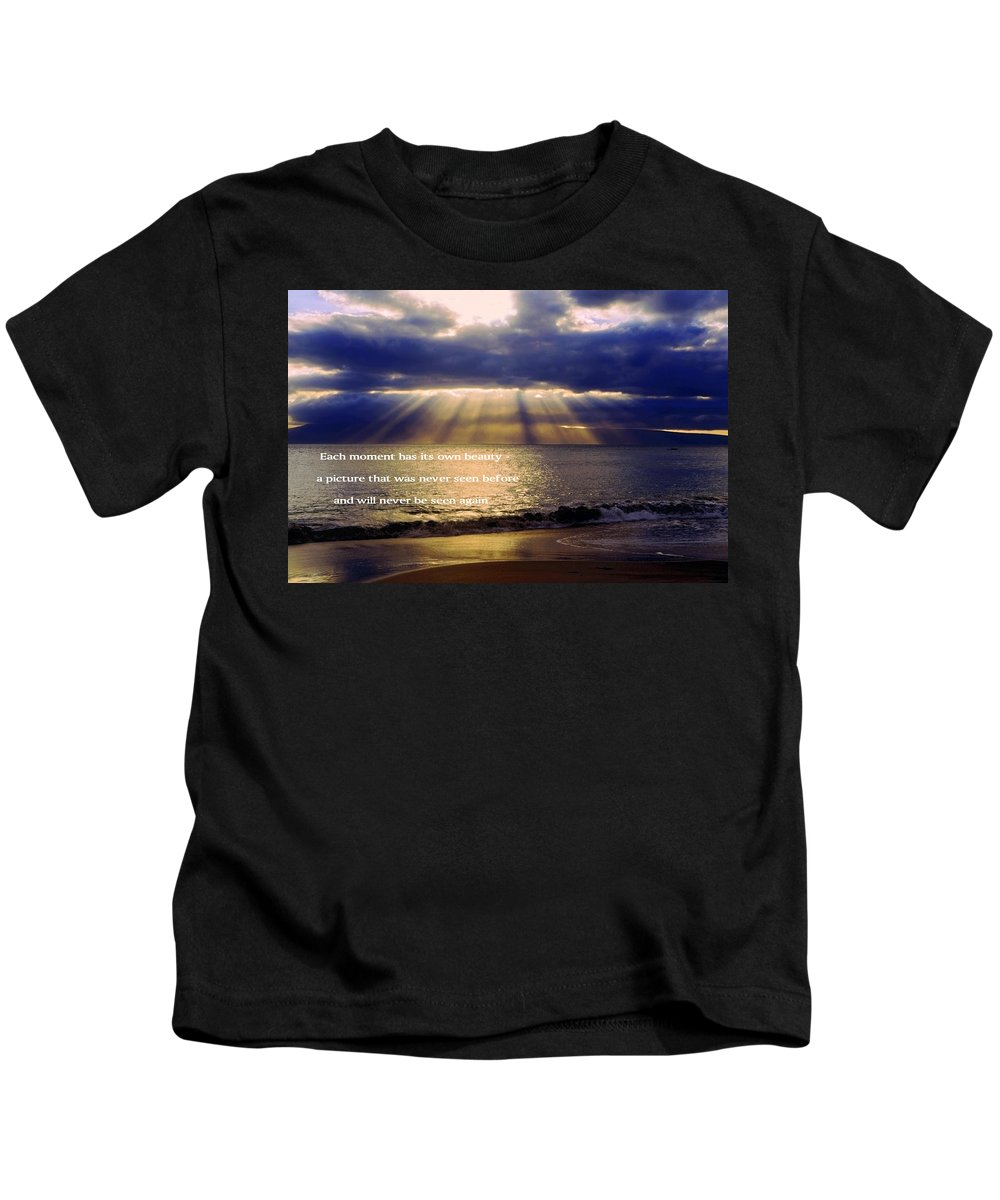 Sunbeams Radiating Through Clouds Before Sunset Kids T-Shirt featuring the photograph Beautiful Moment by Sally Weigand