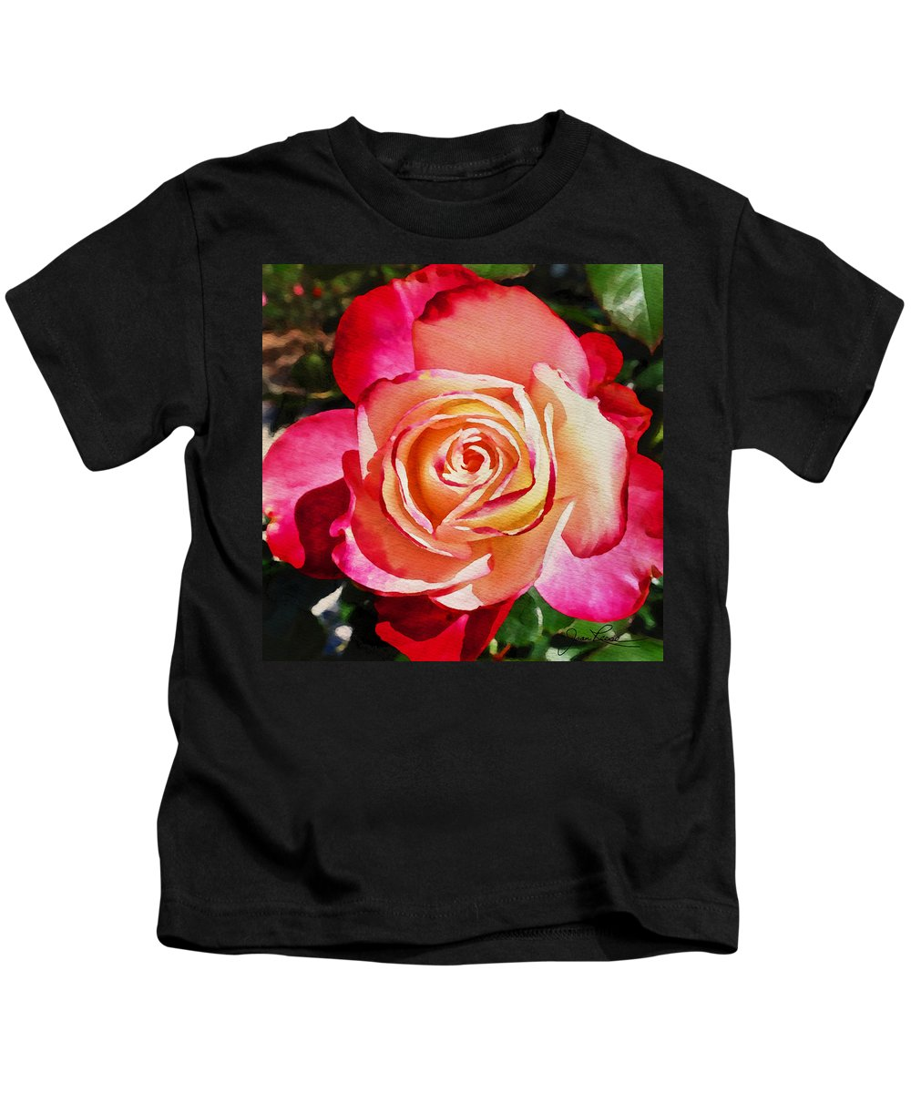 Rose Kids T-Shirt featuring the painting Beautiful Red Rose by Joan Reese