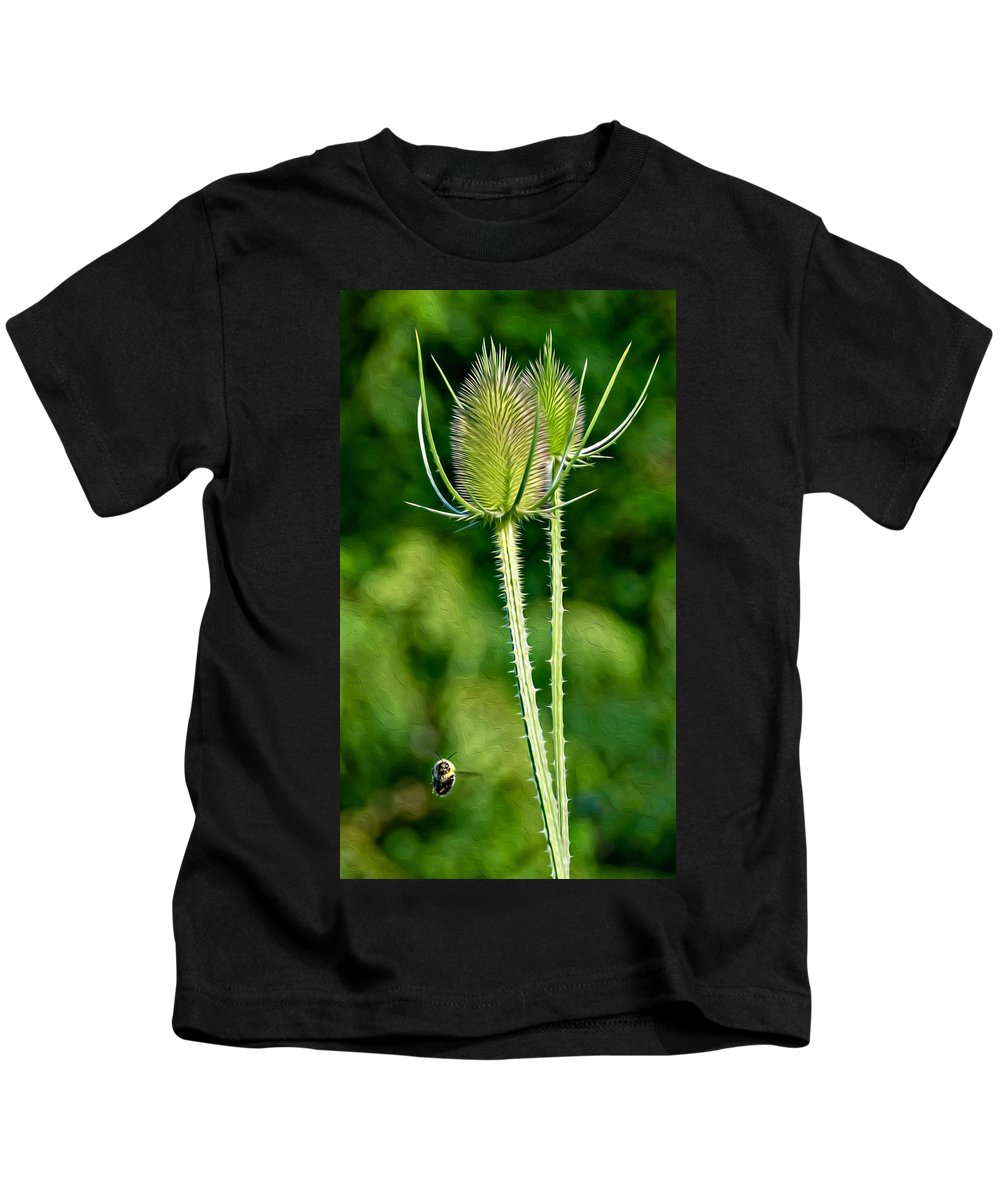 Bee Kids T-Shirt featuring the photograph Bee And Teasel by Steve Harrington