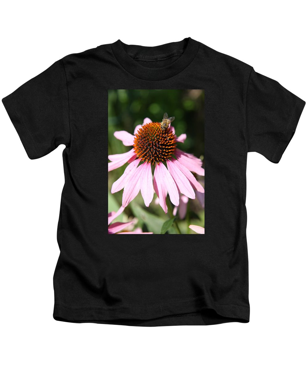 Coneflower Kids T-Shirt featuring the photograph Bee On Coneflower by Christiane Schulze Art And Photography