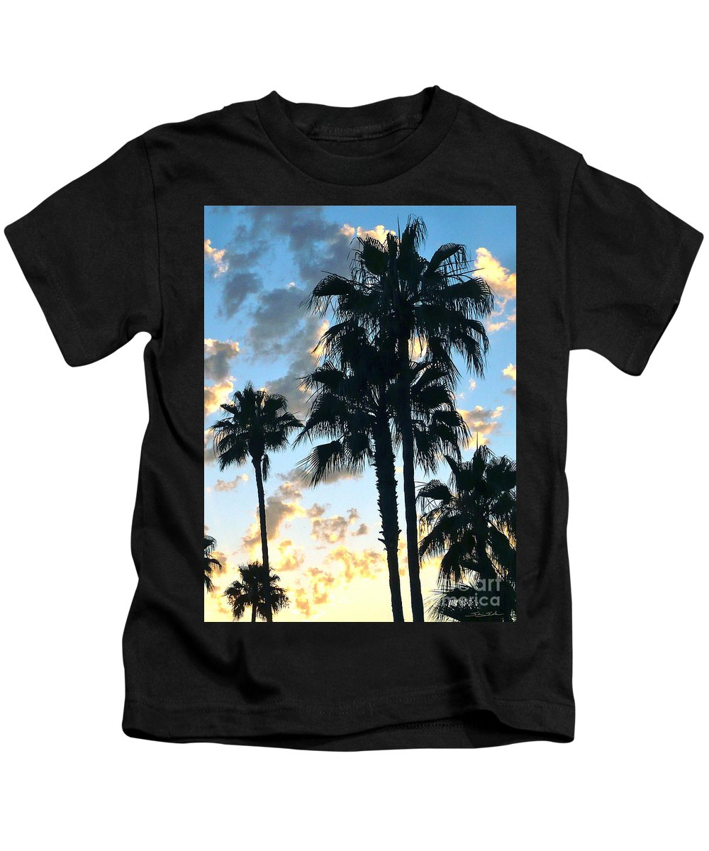 Palm Trees Kids T-Shirt featuring the photograph Before The Dusk by Gem S Visionary
