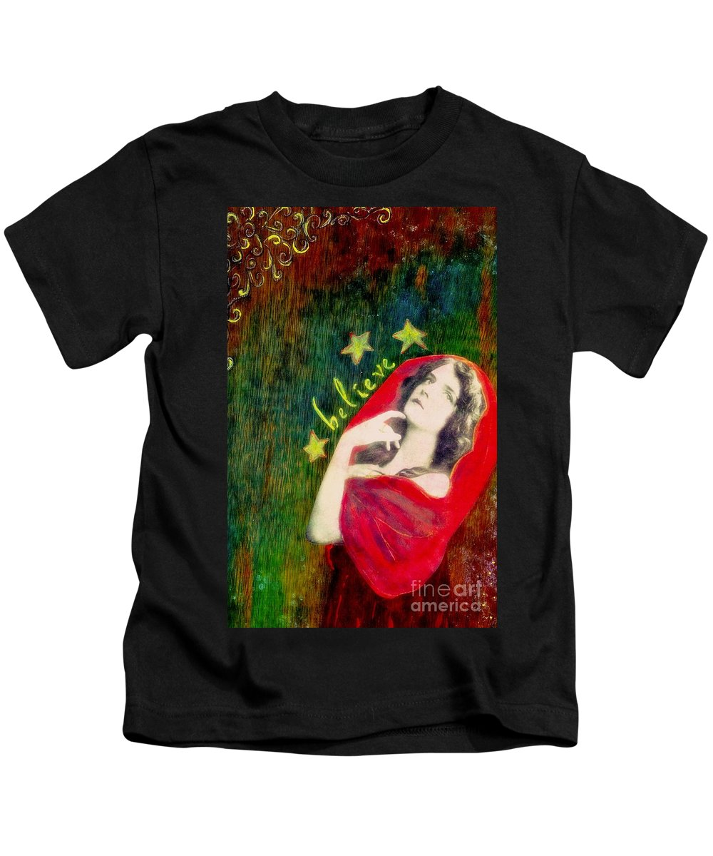 Inspirational Kids T-Shirt featuring the mixed media Believe by Desiree Paquette