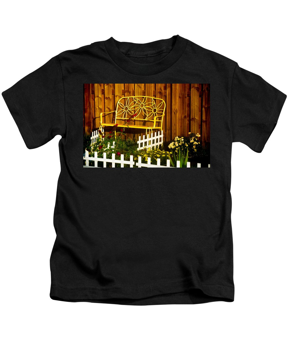 Landscape Kids T-Shirt featuring the photograph Bench With No Name by Mary Hahn Ward
