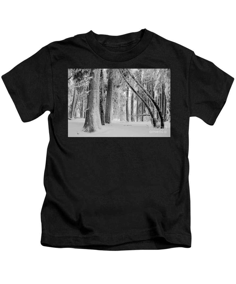 Bend Kids T-Shirt featuring the photograph Bending Snow Trees by Denise Lilly