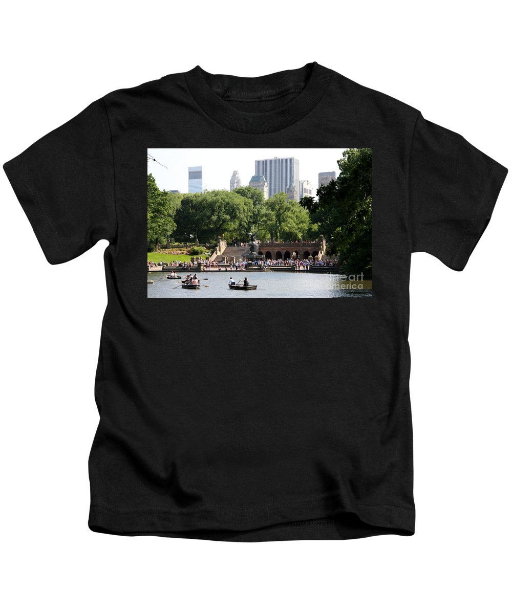 Bethesda Terrace Kids T-Shirt featuring the photograph Bethesda Terrace And Fountian Nyc by Christiane Schulze Art And Photography