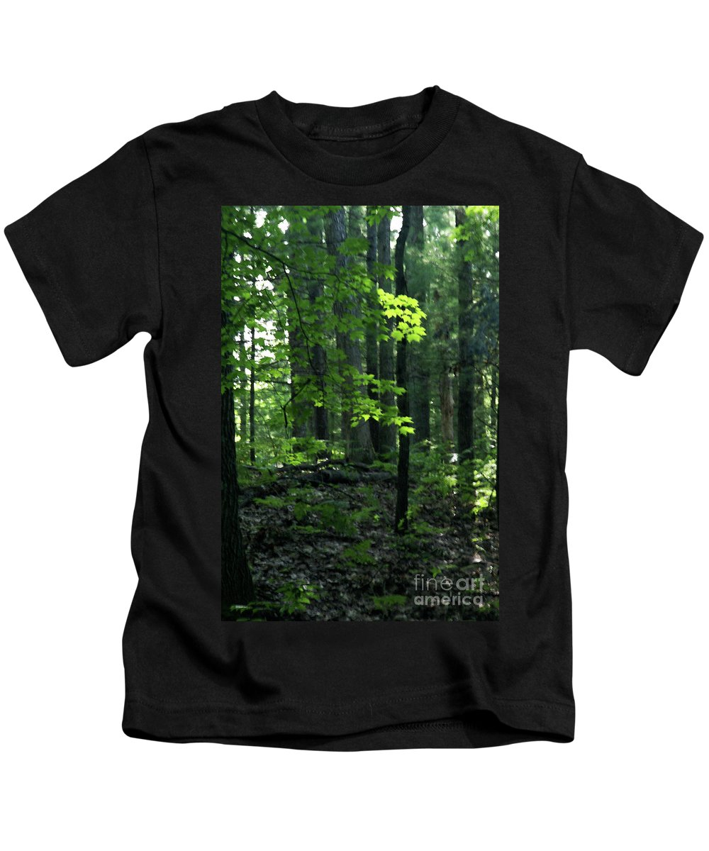 Forest Kids T-Shirt featuring the photograph Beyond The Trees by Linda Shafer