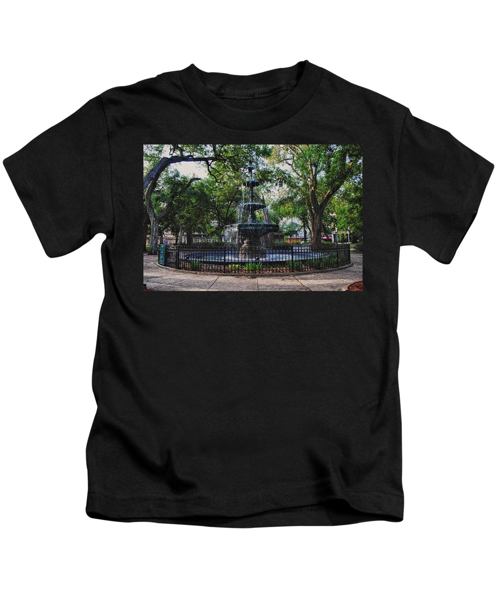 Kids T-Shirt featuring the digital art Bienville Square Fountain Closeup by Michael Thomas