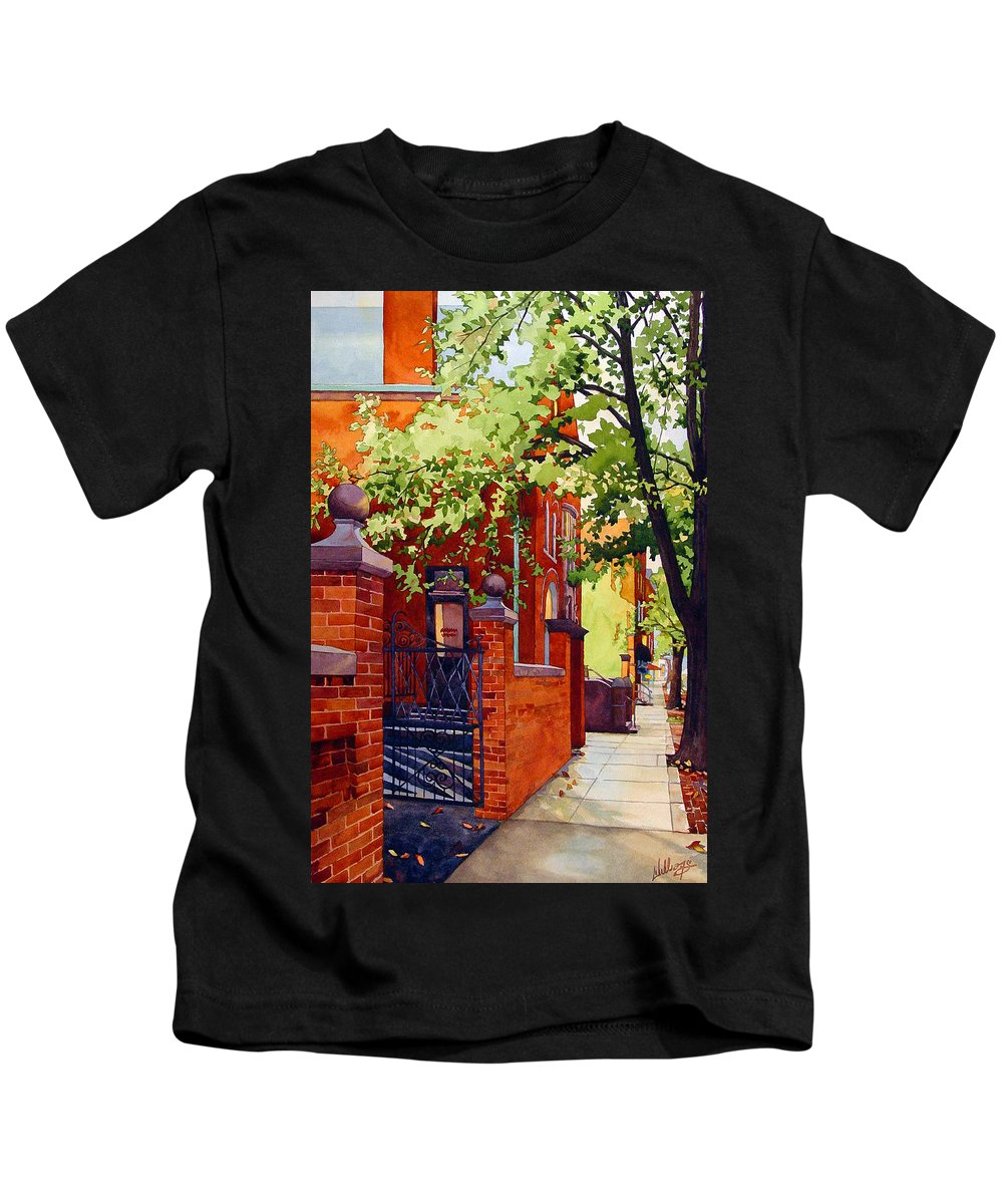 Watercolor Kids T-Shirt featuring the painting Big Brick Wall by Mick Williams