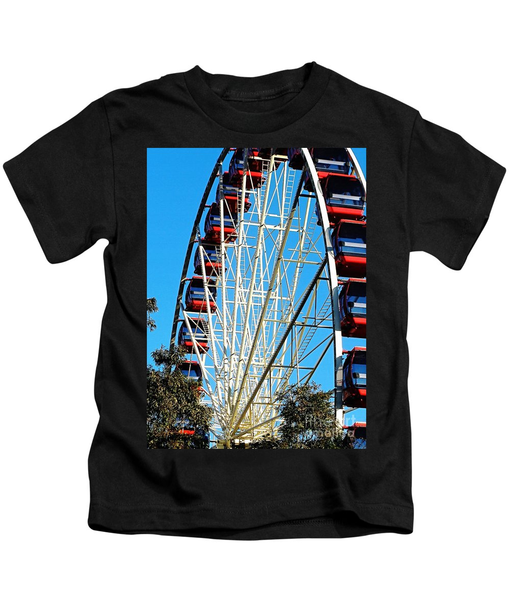 Photography Kids T-Shirt featuring the photograph Big Wheel by Kaye Menner