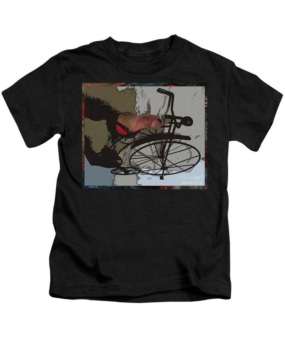 Bike Kids T-Shirt featuring the mixed media Bike Seat View by Ecinja