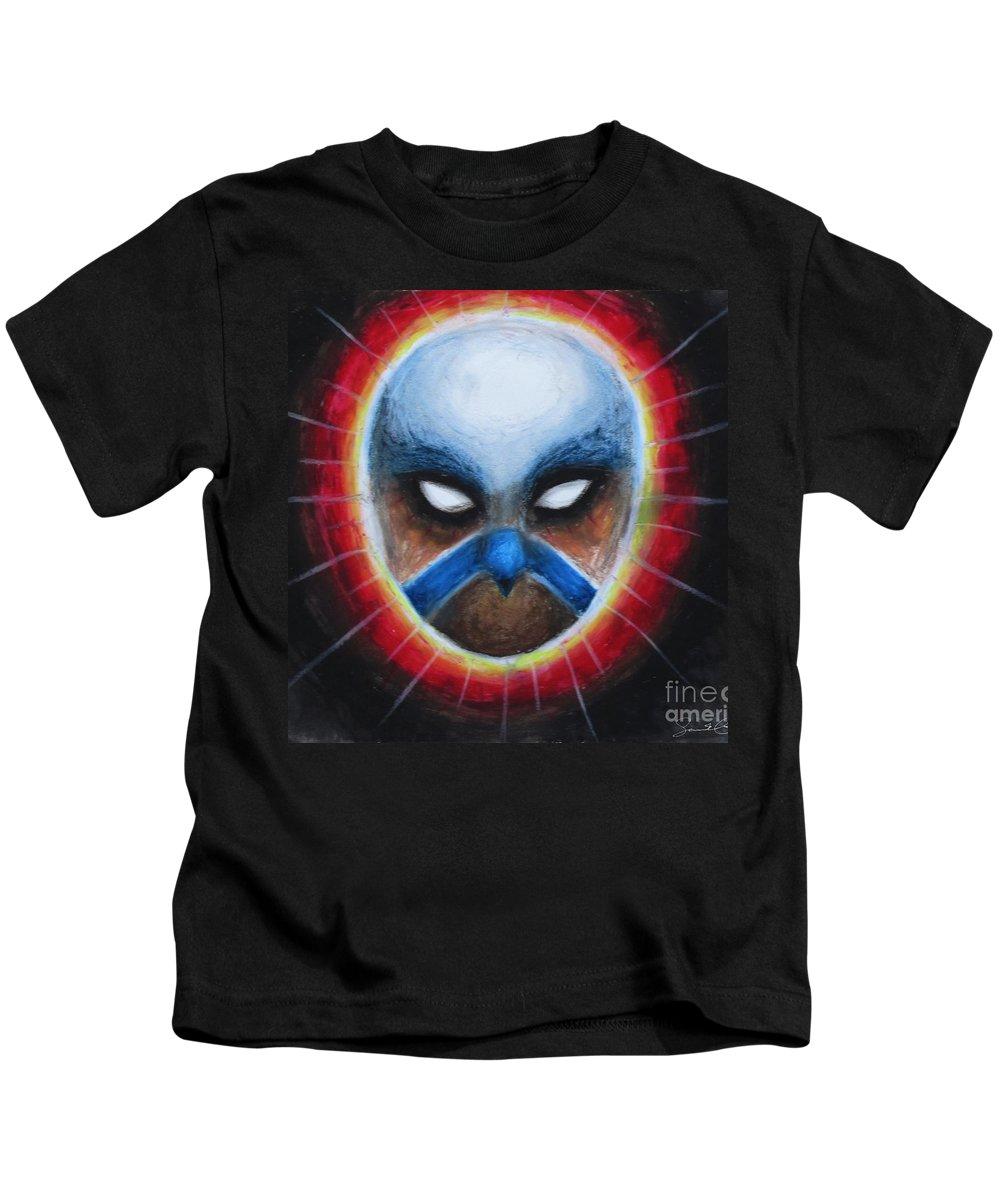 Bird Kids T-Shirt featuring the pastel Bird Totem Mask by Samantha Geernaert