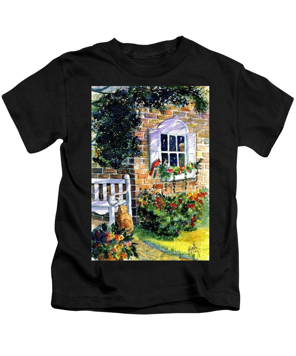 Red Birds Kids T-Shirt featuring the painting Bird's Eye View by Marilyn Smith