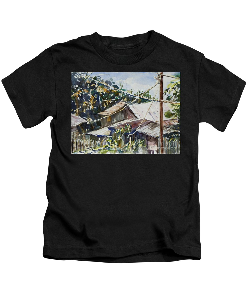 Landscape Kids T-Shirt featuring the painting Bird's Eye View by Xueling Zou