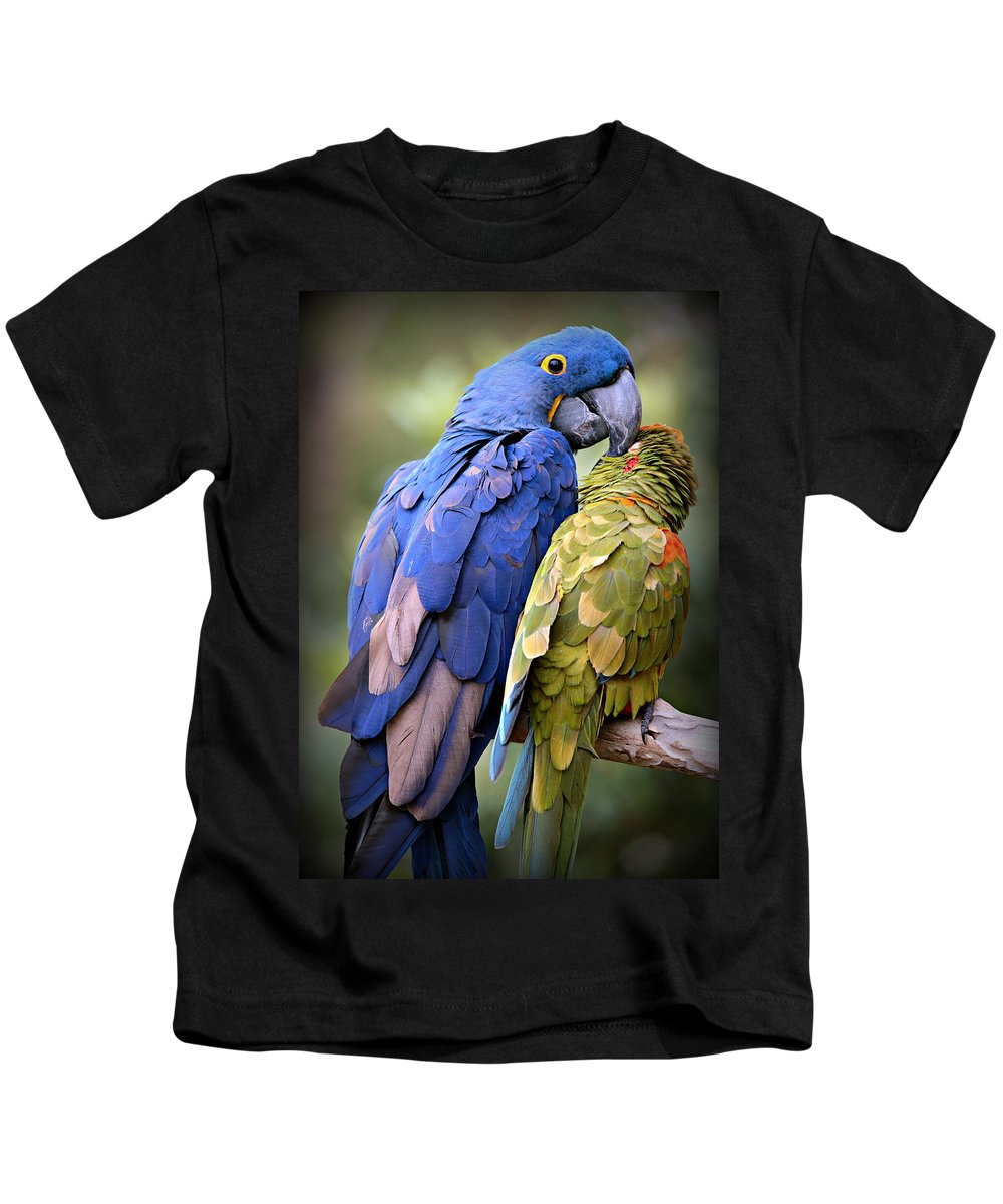Macaw Kids T-Shirt featuring the photograph Birds Of A Feather by Stephen Stookey