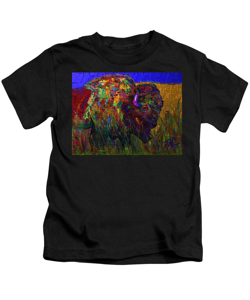 Bison Painting/print Kids T-Shirt featuring the painting Bison by Marie Clark