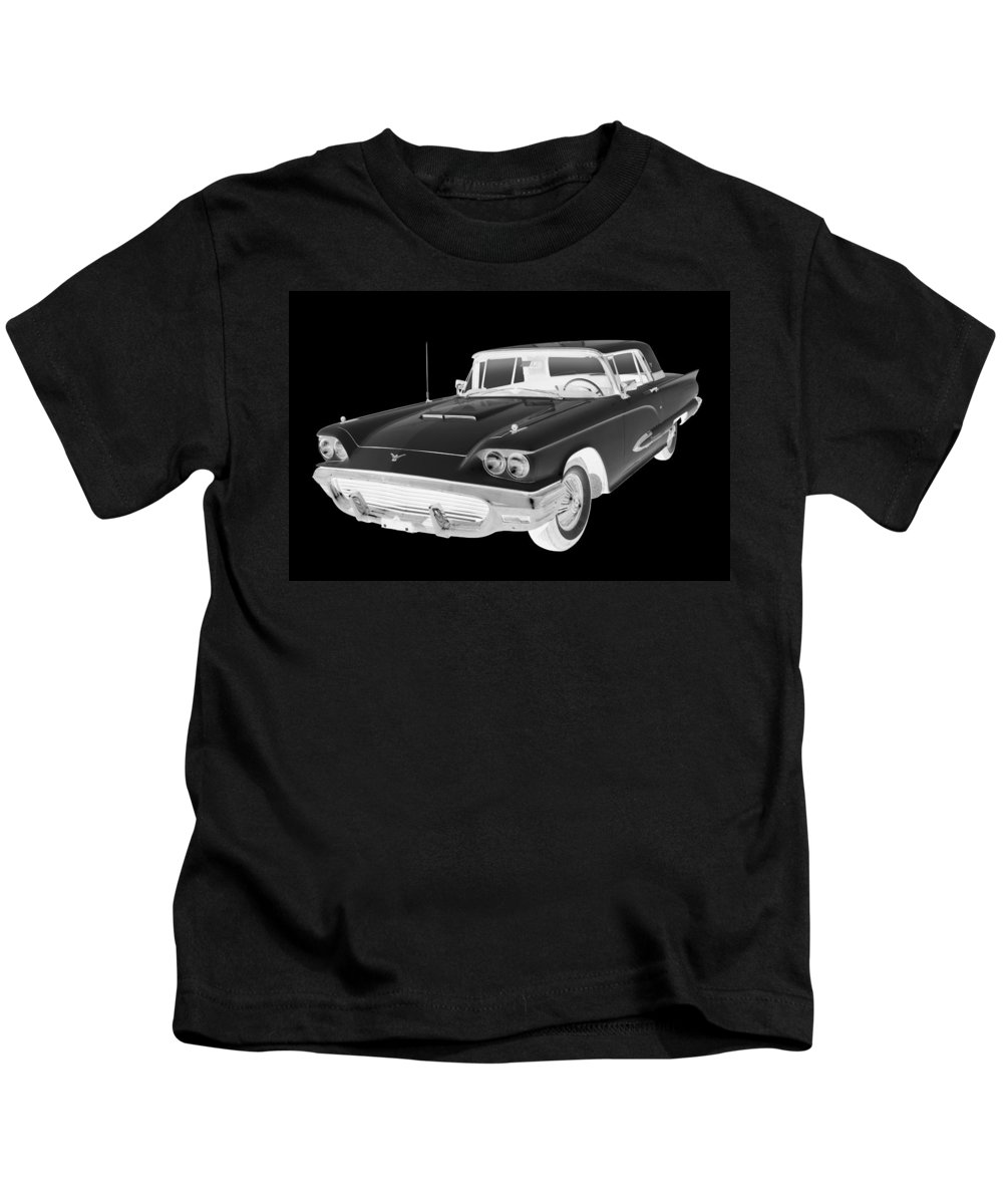 1958 Ford Thunderbird Kids T-Shirt featuring the photograph Black And White 1958 Ford Thunderbird Car Pop Art by Keith Webber Jr