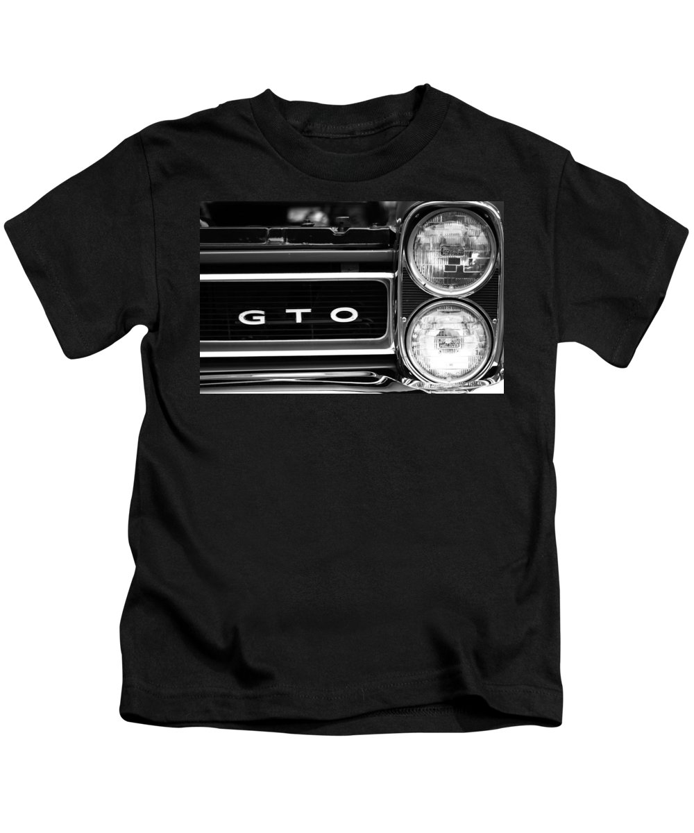 Pontiac Gto Front Kids T-Shirt featuring the photograph Black And White Gto by Dan Sproul
