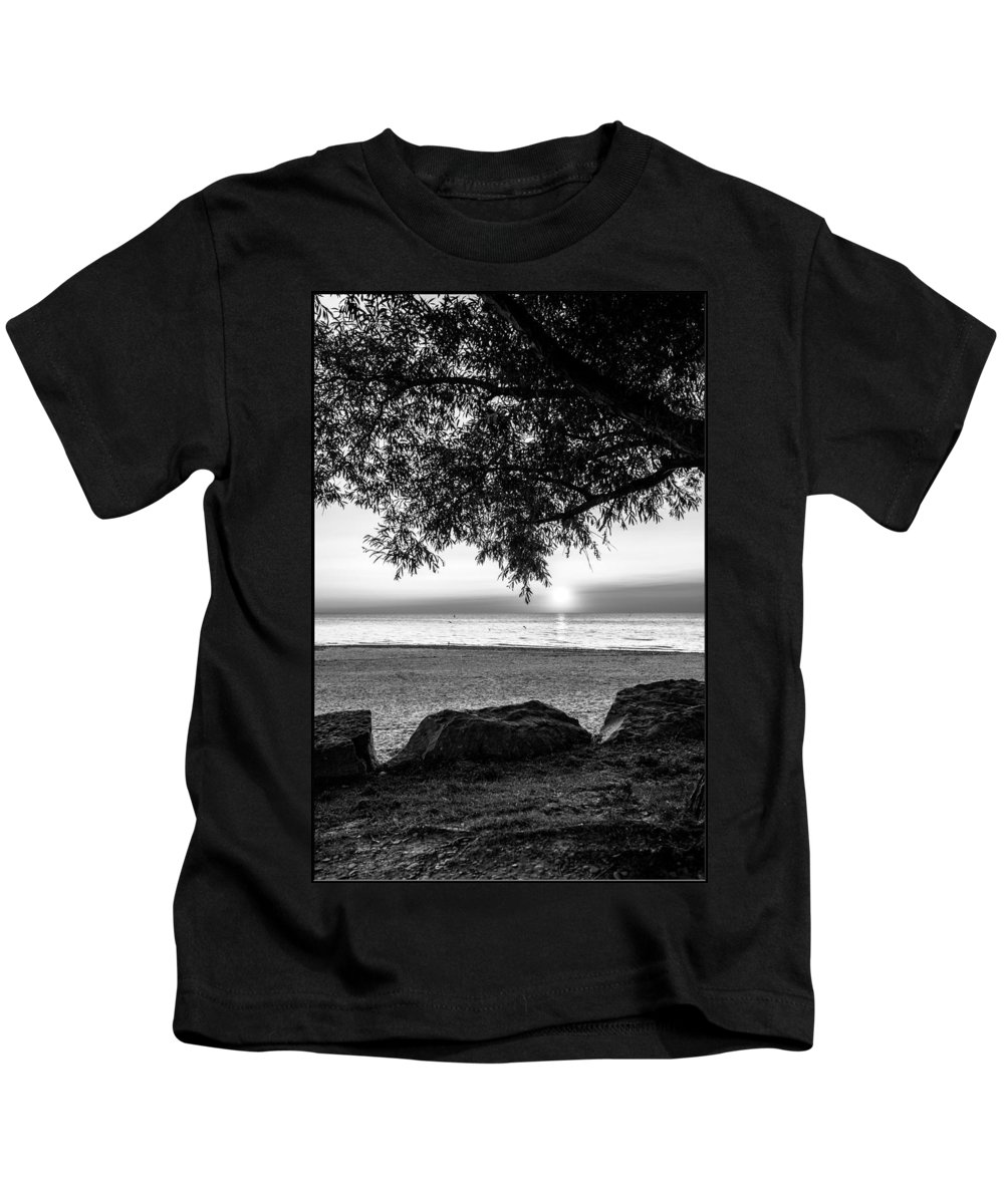 Sunsets Kids T-Shirt featuring the photograph Black And White Sunset by Jim Markiewicz