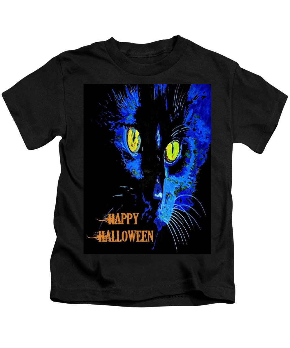 Black Kids T-Shirt featuring the painting Black Cat Portrait With Happy Halloween Greeting by Taiche Acrylic Art